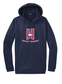 Navy Hooded Sport-Tek Wicking Sweatshirt - Scarlet Regiment