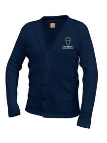 Navy V-Neck Cardigan Sweater - STPP