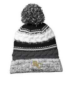 *New - Beanie - Pom Pom in Black with embroidered RC Tennis