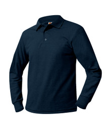 Pique Knit Long Sleeve Polo Shirt