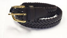 Leather Braided Belt -Black or Brown