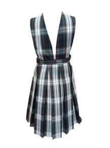 Girls Jumper - V-Neck Top, Pleated Skirt in Plaid 50