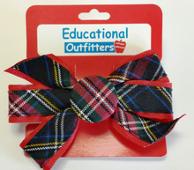 Monarch Button Bow on Barrette Plaid 56