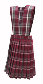K-2nd Grade Girls Mass Jumper - V-Neck top, Knife Pleat Skirt in Plaid 91