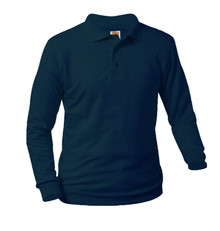 Jersey Knit Long Sleeve Polo Shirt - Monument