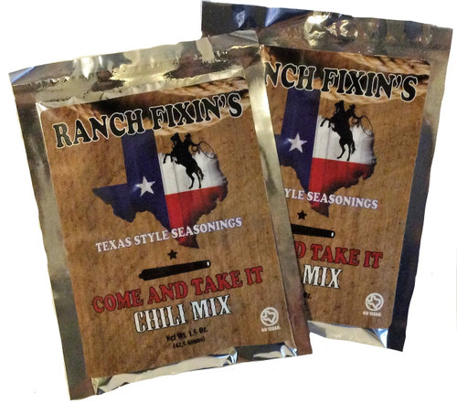 Our COME AND TAKE IT Chili Mix takes chili to an all new level! Comes two to a package and each mix feeds 4-6 hungry cowgirls and cowboys.  For the ultimate chili, buy our Steak Dust seasoning to dust your meat with when browning.  Turn an ordinary meal into Cowboy Cuisine!    Ciao Y'all!