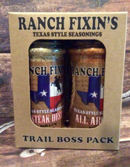 Steak Dust / All Around / Come and Take It Chili Mix  Our Trail Boss Pack is the perfect combination for turning an ordinary meal into Cowboy Cuisine! Not only are they great for grilling, but our Steak Dust and All Around are exceptional incorporated into recipes before you cook too. Excellent as an add on at the table too. And our Come and Take It Chili Mix takes chili to an all new level!  Our low sodium and MSG free seasonings can be used generously. Try sprinkling some on salads, vegetables, baked potatoes, roasted chicken, eggs, or even fish tacos.   Ciao Y'all!!