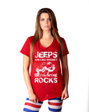 """Jeeps are like Whiskey"" Ladies V-neck Shirt"