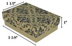 """10 Boxes-DamaskPrintCottonFilledBoxes-2 5/8"""" x 1 1/2"""" x 1""""H"""