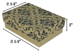 "Damask Print Cotton Filled Boxes - 3 1/4"" x 2 1/4"" x 1""H"