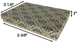 "Damask Print Cotton Filled Boxes - 5 3/8"" x 3 7/8"" x 1""H"
