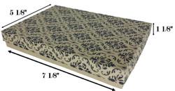 """10 Boxes-DamaskPrintCottonFilledBoxes-7 1/8"""" x 5 1/8"""" x 1 1/8""""H"""