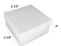 "White Swirl Cotton Filled Boxes - 3 1/2"" x 3 1/2"" x 2""H"
