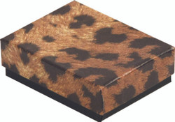 "Leopard Print Cotton Filled Boxes - 7 1/8"" x 5 1/8"" x 1 1/8""H"