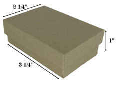 "Kraft Brown Cotton Filled Boxes - 3 1/4"" x 2 1/4"" x 1""H"
