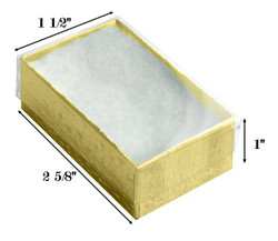 "Gold Foil Clear Top Cotton Filled Boxes - 2 5/8"" x 1 1/2"" x 1""H"