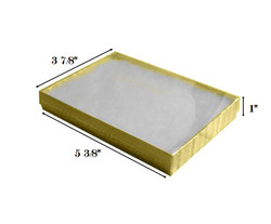 "Gold Foil Clear Top Cotton Filled Boxes - 5 3/8"" x 3 7/8"" x 1""H"