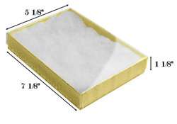 "Gold Foil Clear Top Cotton Filled Boxes - 7 1/8"" x 5 1/8"" x 1 1/8""H"