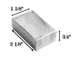 "10 Boxes-SilverFoilClearTopCottonFilledBoxes-2 1/8"" x 1 5/8"" x 3/4""H"