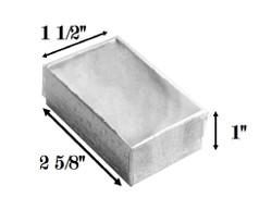 "10 Boxes-SilverFoilClearTopCottonFilledBoxes-2 5/8"" x 1 1/2"" x 1""H"