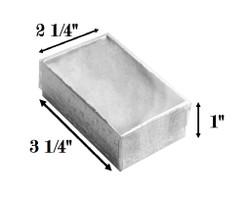 "10 Boxes-SilverFoilClearTopCottonFilledBoxes-3 1/4"" x 2 1/4"" x 1""H"