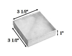 "Silver Foil Clear Top Cotton Filled Boxes - 3 1/2"" x 3 1/2"" x 1""H"