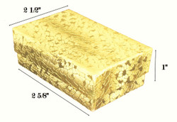 "Gold Foil Cotton Filled Boxes - 2 5/8"" x 1 1/2"" x 1""H"