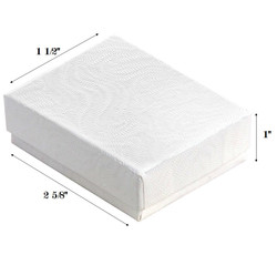 "White Swirl Cotton Filled Boxes - 2 5/8"" x 1 1/2"" x 1""H"