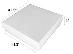 "White Swirl Cotton Filled Boxes - 3 1/2"" x 3 1/2"" x 1""H"