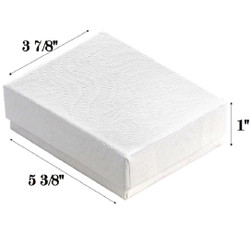 "White Swirl Cotton Filled Boxes - 5 3/8"" x 3 7/8"" x 1""H"