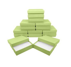 "Light Green Kraft Cotton Filled Boxes - 3"" x 2 1/8"" x 1""H"