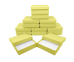 "10 Boxes-YellowKraftCottonFilledBoxes-3 1/2"" x 3 1/2"" x 7/8""H"