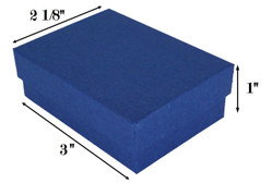 "Navy Kraft Cotton Filled Boxes - 3"" x 2 1/8"" x 1""H"
