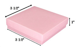 "Pink Kraft Cotton Filled Boxes - 3 1/2"" x 3 1/2"" x 7/8""H"