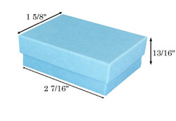 "Baby Blue Kraft Cotton Filled Boxes - 2 7/16"" x 1 5/8"" x 13/16""H"
