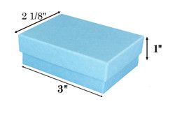 "10 Boxes-BabyBlueKraftCottonFilledBoxes-3"" x 2 1/8"" x 1""H"