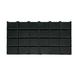Black Faux Leather 24 Section Deluxe Tray Insert Liner