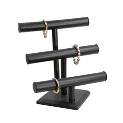 Black Leatherette Triple T Bar