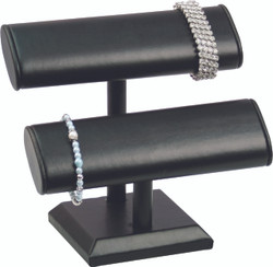 Black Leatherette Double Oval T Bar