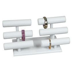 White Leatherette Double Triple T Bar