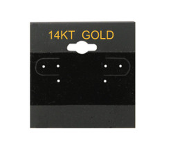 """14K Gold"" Printed Black Hanging Earring Cards - 2"" x 2"""