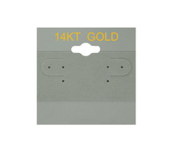 """14K Gold"" Printed Grey Hanging Earring Cards - 2"" x 2"""