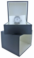 "Elegant Navy Jewelry Box for Watches or Bangles 4 ½"" x 4 ½"" x 3"""