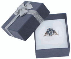 "12 Boxes - Linen Blue Bow Tie Gift Boxes for Rings - 2"" x 2 1/8"" x 1 3/8"""