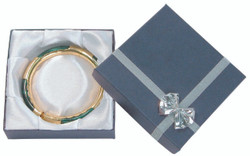 "12 Boxes - Linen Blue Bow Tie Gift Boxes for Bangles or Bracelets - 3 5/8"" x 3 5/8"" x 1 1/8"""