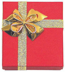 "12 Boxes - Linen Red Bow Tie Gift Boxes for Large Combination  - 5 1/2"" x 6 1/2"" x 1 3/8"""