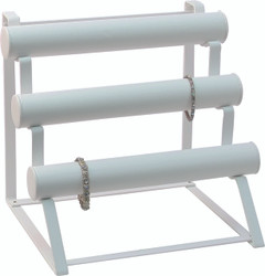 White Faux Leather Removable tubes - Multi Bar Display for bracelets/watches