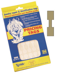 Rectangle Gold Dumbell Adhesive Tear-Proof Tags (1000pcs/Box)