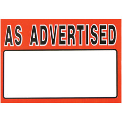 "Small Paper ""AS ADVERTISED"" Store Message Sign (50Pcs/Pack)"