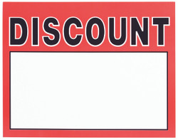 "Large Paper ""Discount"" Store Message Signs (50Pcs/Pack)- 7""W x 5 1/2""L"